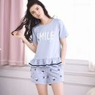 Pajama Set: Short-Sleeve Lettering Top + Shorts 1596