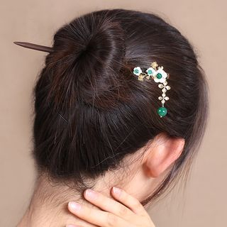 Flower Dangle Wooden Hair Stick 1061956024