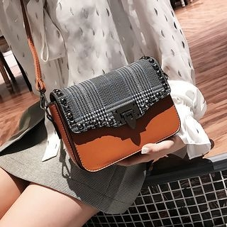 Studded Plaid Crossbody Bag