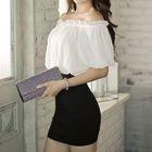 Short-Sleeve Off-Shoulder Color-Block Dress 1596
