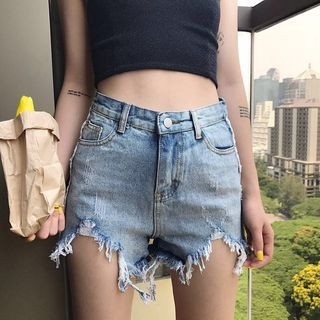 Distressed Washed Denim Shorts 1059706131
