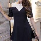 Cutout Shoulder Panel Short-Sleeve Dress 1596