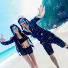 Couple Matching Swim Set: Tankini + Cover-Up + Shorts 1596