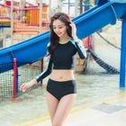 Swim Set: Long-Sleeve Panel Top + Panties 1596