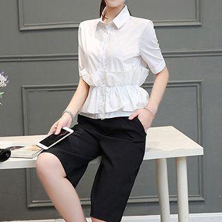 set-peplum-short-sleeve-blouse-shorts