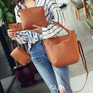 Set of 4: Faux Leather Tote + Shoulder Bag + Card Holder + Pouch 1061977444