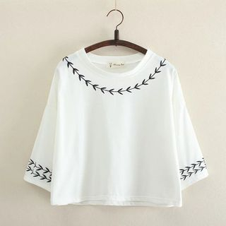 Image of Embroidered Cropped Top