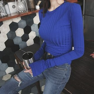 Long-Sleeve Ribbed Slim-Fit Top 1057474640