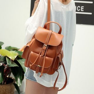 Image of Drawstring Faux-Leather Backpack