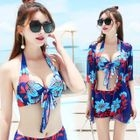 Set: Flower Print Bikini Top + Swim Shorts + Cover-up 1596