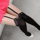 Rose Print Two-Tone Tights Black and Nude - One Size 1596
