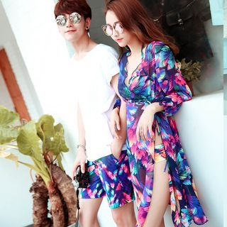 Couple Matching Set : Print Bikini + Cover-up + Swim Shorts 1058013689