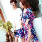 Couple Matching Set : Print Bikini + Cover-up + Swim Shorts 1596