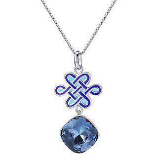 925 Silver Swarovski Elements Chinese Knot Pendant Necklace