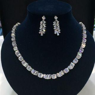 Image of Set: Rhinestone Necklace + Dangle Earring Set - 1 Pair - Stud Earrings & Necklace - Zircon - White - One Size