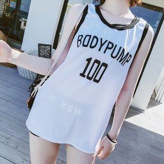 Set: Plain Bikini + Printed Tank Top 1064758326