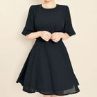 Bell-Sleeve A-Line Dress 1596