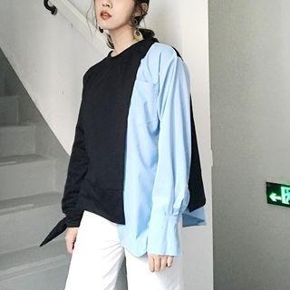 Color-Block Asymmetric Sweatshirt 1061909901