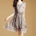 Floral Print Elbow Sleeve Chiffon Dress 1596