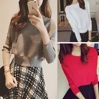 Image of Plain Long-Sleeve Knit Sweater