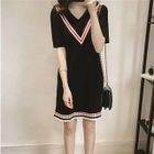 Short-Sleeve V-Neck Contrast-Stripe Dress 1596