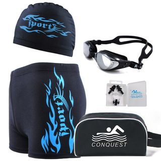 Set: Swimming Shorts + Swimming Goggles + Swimming Cap + Nasal Clamp + Ear Plugs 1064728901