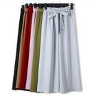 Tie-Waist Plain Wide-Leg Pants 1596