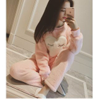 Set: Heart Applique Coral Fleece Pullover + Pants 1596