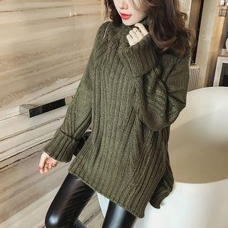 Turtleneck Ribbed Long Sweater 1056776140