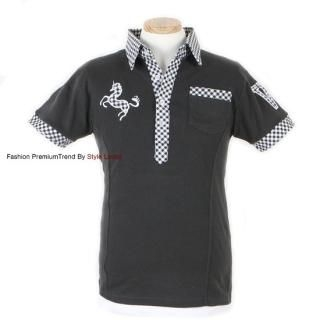 Picture of Yellow Jacket Appliqu  Check-Collar Polo Shirt 1022499916 (Yellow Jacket, Mens Tees, South Korea)