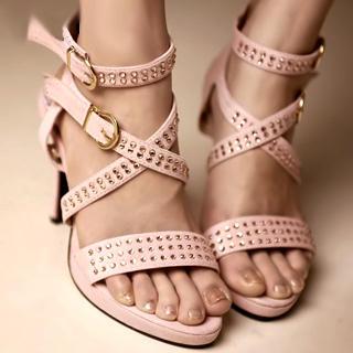 Buy Kvoll Rhinestone Strappy Platform Sandals 1022892301