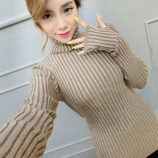Turtle Neck Ribbed Long Sleeve Knit Top 1052691413