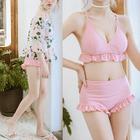 Set: Frill Trim Bikini + Floral Print Cover-up 1596
