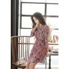 Frilled 3/4-Sleeve Chiffon Mini Dress 1596
