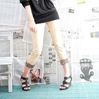Buy YoungBaby Leopard Print Cuff Capri Pants 1021529040