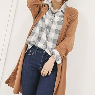 Open-Front Ribbed Long Cardigan 1061917646