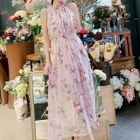 Floral Halter Chiffon Maxi Dress 1596