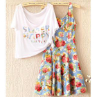 Set: Lettering Cropped Top + Floral Tank Dress 1596