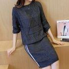 Set: Plain Sweater + Striped Skirt 1596
