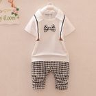 Kids Set: Bow Accent Collared Short Sleeve Top + Houndstooth Pants 1596