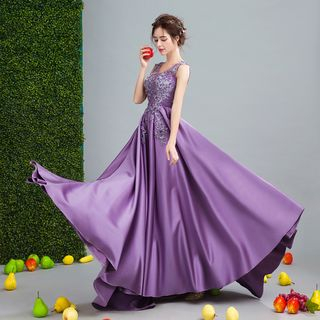 Image of Embellished Lace Applique Evening Gown