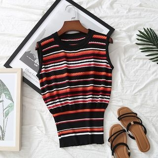 Sleeveless Striped Knit Top 1068014731