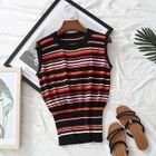 Sleeveless Striped Knit Top 1596
