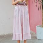Pleated Wide Leg Cropped Pants 1596