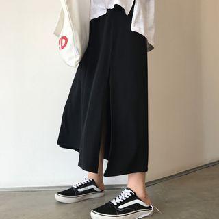 Plain Loose-Fit A-Line Midi-Skirt 1062449506