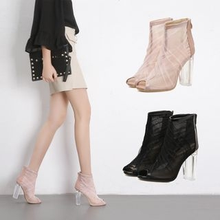 Mesh Panel Block Heel Sandals 1064558090