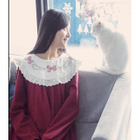 Bow Embroidered Collar Long-Sleeve Dress 1596