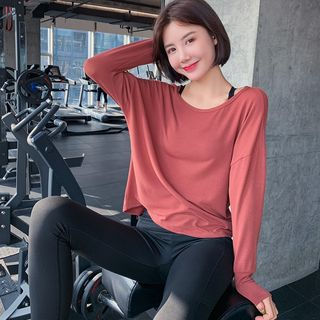 Image of Cutout Back Sports Long-Sleeve Top
