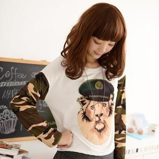 Product Image of Camouflage Long-Sleeve Lion Print Top