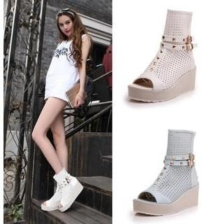 Perforated Platform Wedge Sandal Ankle Boots